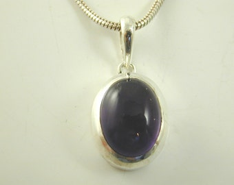 "Amethyst solitaire pendant necklace sterling silver 18"" long snake chain 19.1g"