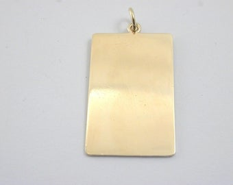 Tag solid 9 Gold rectangle pendant full halllmark for London 1974 5 grams