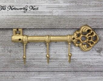 Skeleton key wall hook // Cast Iron Key Hook // Cast Iron hook // skeleton key // gold key holder // gold wall decor // hanging key hook