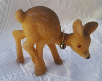 Vintage Flocked Fawn, baby deer