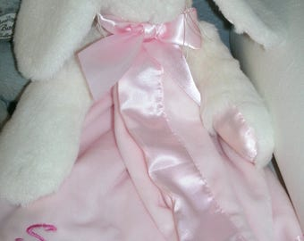 Easter Personalized Pink Bunny Rabbit Snuggler Animal Security Blanket Blankie.. Custom Made Any Name & Color EMBROIDERED