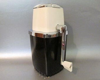 Cool Vintage Swing-A-Way Ice Crusher Black White and Chrome Great Retro Mid Century Diner Look! Rotating Crank Handle