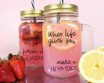 2 x Glass Drinking Jars