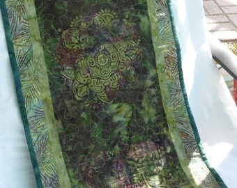 Batik medallion table runner.  Create a little green and peace in your day.