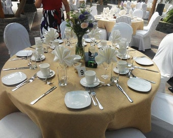 "Burlap 90"" Round Tablecloth, Top of the line,  100% Premier Jute Burlap. Natural or cream white"
