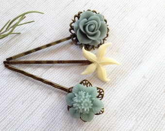 Steel Blue Flowers And Ivory Starfish Hair Clips
