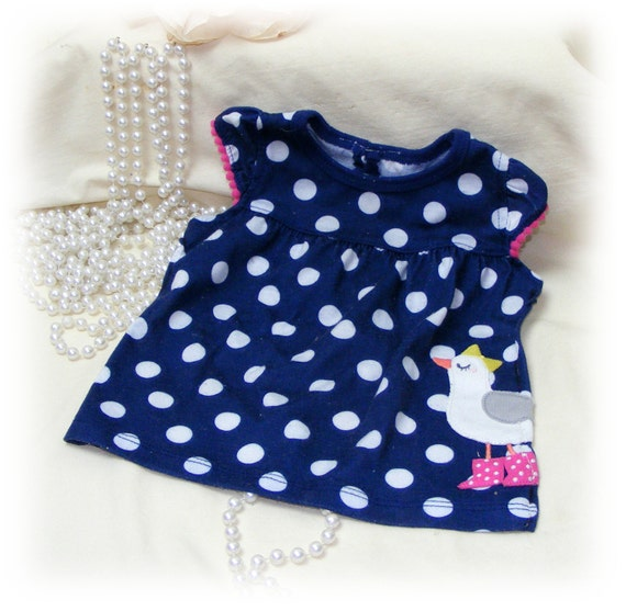 Adorable (SMALL+) DOG DRESS . . (blue with white polka dots & sporting a little duck) . . . (Custom Clothes Orders Welcome)