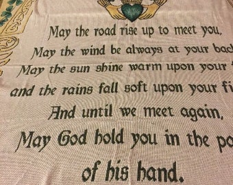 An Old Irish Blessing Tapestry Throw Couch Blanket - Monogrammed