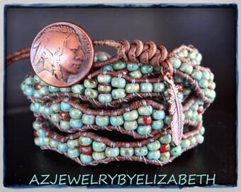 Beaded Wrap Bracelet/ Native American Leather Wrap Bracelet/ Southwestern Wrap Bracelet/ Mens Bracelet/ Leather Bracelet/ Seed Bead Bracelet