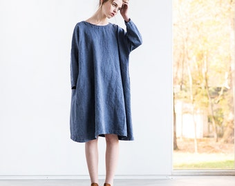 Oversized loose fitting linen dress with DROP SHOULDER long sleeves in denim color (fades)/ Washed linen tunic
