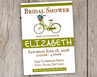 Vintage Bicycle/Green/White/Brown/5x7/Bridal Shower/Invitation/Printable