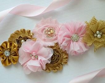 Sash,Gold and Light Pink Sash , flower Belt, maternity sash, flower sash