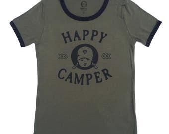 Happy Camper Shirt Vintage Ringer Tee Womens Camping Shirt Hiking Camper TShirt Camping Gift