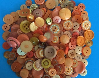 Large Plastic Button Lot-  Orange Mix