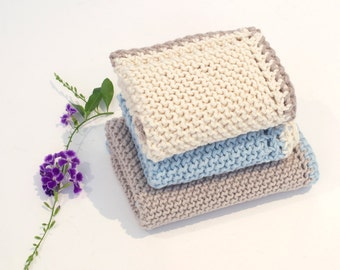 Cotton washcloths, knitted washcloth set, large wash cloths, spa face towels, handmade knit dishcloths, 100% cotton, home and living gift