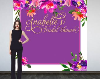 Bridal Shower Party Personalized Photo Backdrop -Spring Floral Photo Backdrop- Birthday Photo Booth Backdrop- Custom Backdrop - Baby Shower