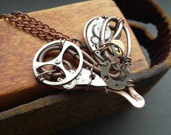 Mechanical heart necklace Steampunk jewelry
