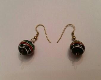 Southwestern Dangle Ball Earrings Painted Tribal