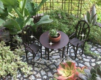 Iron Fairy garden table, miniature table and chairs, fairy table and chairs, fairy dining, miniature furniture, fairy furniture