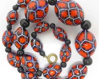 Vintage Venetian Matched Moretti Millefiori Glass Bead Necklace - Fabulous Red Star Canes Murano Glass
