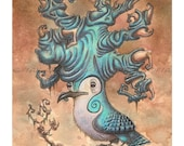 """The Horned Swirl Jay - 8""""x 10"""" Museum Quality Archival Signed Titled FANTASY Fine Art Print Of WATERCOLOR BIRD Painting By Fian Arroyo"""