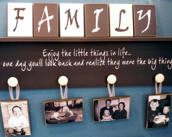 Family Shelf Sign With Photos and Name