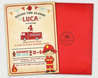 Firefighter Invitation / Firefighter Birthday Invitation / Vintage Firefighter Birthday Invitation