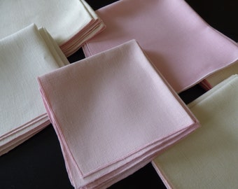 """24 Pink & White Linen Napkins, Plain Weave, Vintage Mid Century, Two Sizes 12"""" and 16"""", Lovely and Excellent!"""