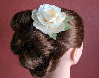 Bridal paper flower hair clip