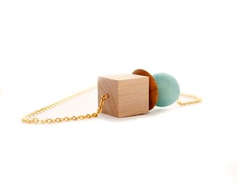 Geometric Statement Necklace, Geometric Necklace, Statement Necklace, Wood Bead Necklace, Wood Jewelry, wooden necklace, Modern Necklace