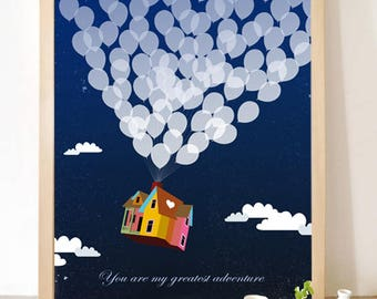 Up inspired Printable poster, you are my greatest adventure, Disney Movie Nursery wall Art, Balloons house, Design Print Baby Shower Gift