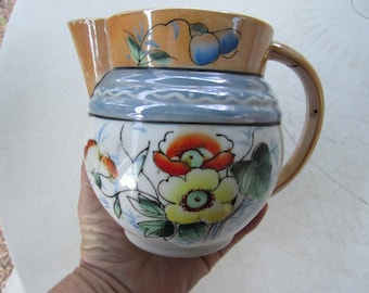 Vintage Japanese Hand Painted Floral Small Pitcher