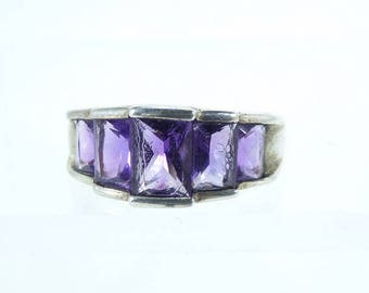 Vintage Silver and Purple Iolite Ring Sz 8.25