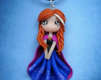Disney inspired princess Anna from Frozen polymer clay doll pendant necklace