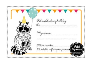 "Printable birthday card invitation ""raccoon""/PDF"
