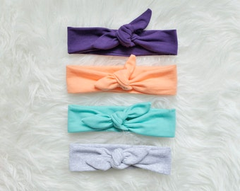 Set of 4 Tie Headbands Toddler, Pin up style Toddler headband, Available different colors/patterns