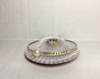 Gold Pearl Bangle