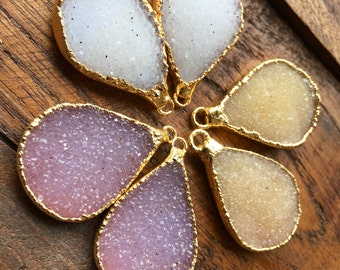 Drop Dead gorgeous awesome Druzy Teardrop paired in 22k gold-plated, gold edged.  #1032