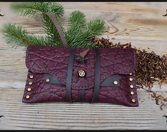 leather tobacco pouch brown annd burgundy