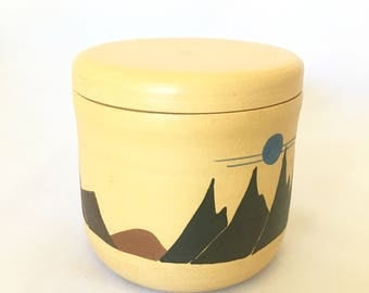 Hand Painted Stoneware Lidded Vessel