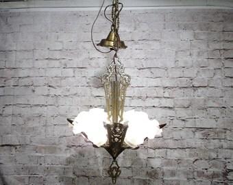 Antique Vintage Chandelier Art Deco Slip Shade Light Fixture