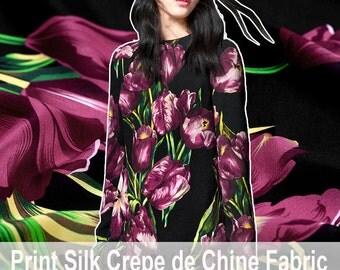 110CM Wide 14MM Purple Tulips Black Silk Crepe De Chine Fabric for Summer Dress Shirt E300