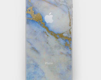 Transparent Skin Sticker Decal for iPhone 7 iPhone 6 iPhone 5 5s 4 4s - Blue Gold Marble