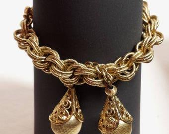 Vintage MONET Woven Gold bracelet charm w matching Earrings