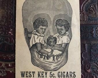 Victorian Trade Card Cigar Double Sided Skull/Cat