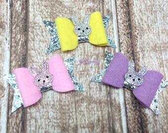 Easter Hair Bow, Easter Bow, Bunny Hair Bow, Bunny Bow, Easter Bunny Bow, Easter Hair Clip, Over the Top Bow, Glitter Bows, Small Hair Bow