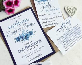 Blue Floral Wedding Invitation Set  | Rustic Invitation, Custom Invitation Suite, Wedding Invitations, Navy Invitation, Modern Invitation