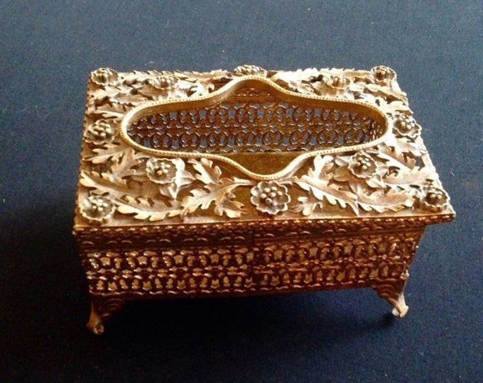 Storewide 25% Off SALE Vintage Gold Tone Floral Leaf Embossed Middle Eastern Style Decorative Metal Trinket Jewelry Box Featuring Hinged Lid