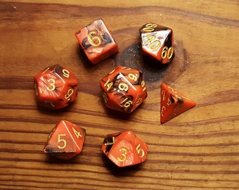 Red and Black Polyhedral Dice Set