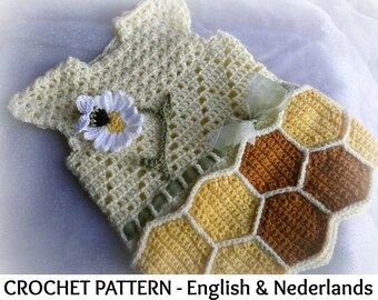 English + Dutch Crochet Pattern Baby Dress  Honey 0-18 months
